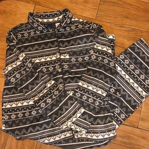 Simply Styled size LG grey and white pajama set